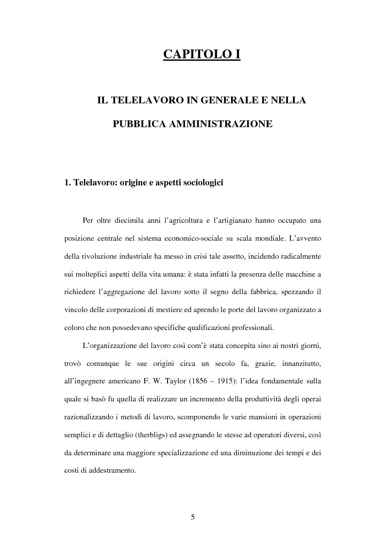 Anteprima della tesi: Il telelavoro nelle pubbliche amministrazioni, Pagina 5