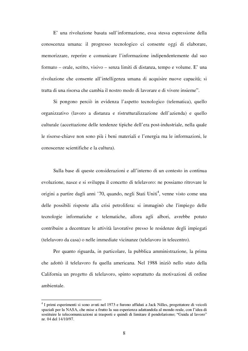 Anteprima della tesi: Il telelavoro nelle pubbliche amministrazioni, Pagina 8