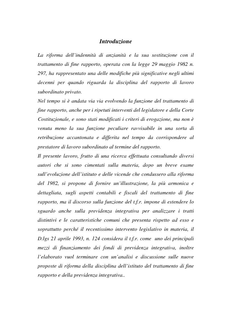 Anteprima della tesi: Il T.F.R. e la previdenza integrativa nei bilanci S.p.A., Pagina 1