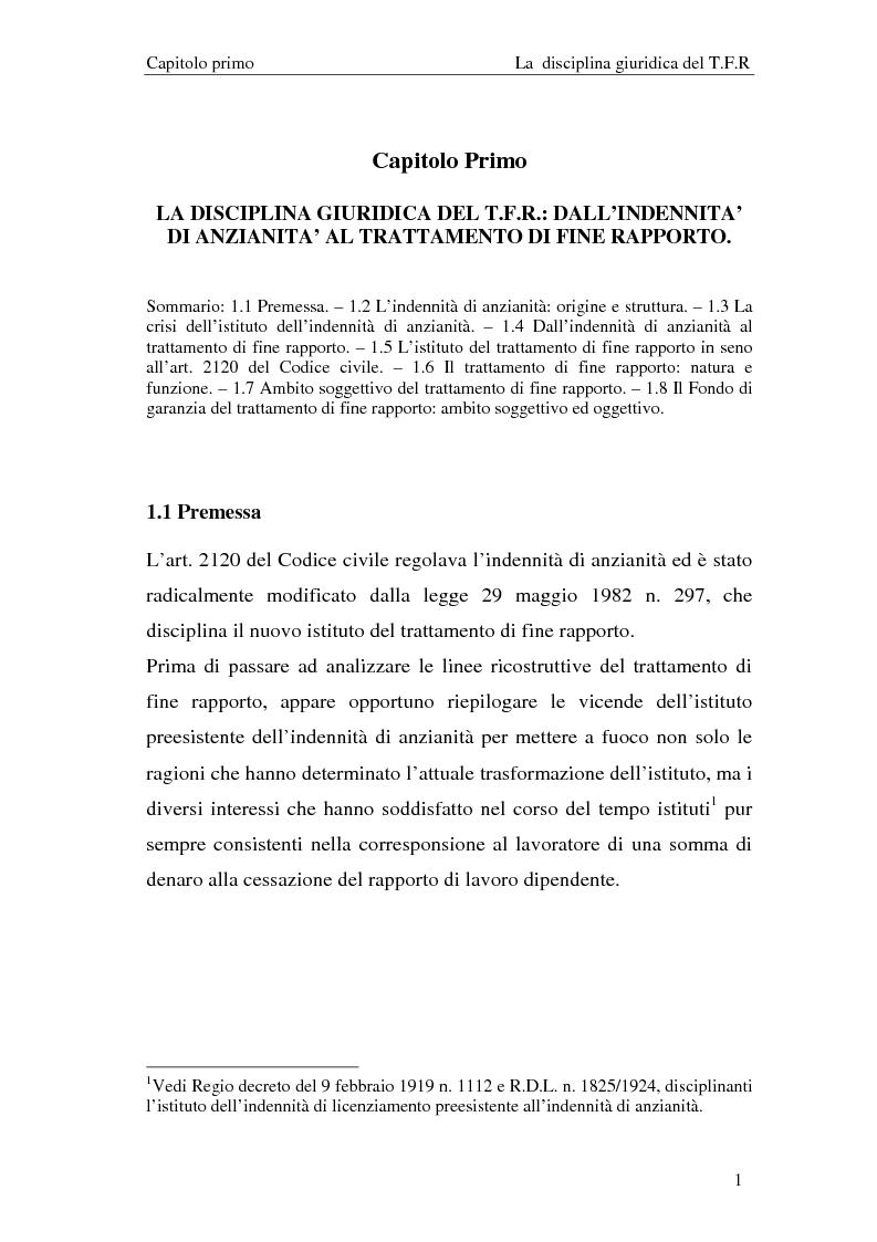 Anteprima della tesi: Il T.F.R. e la previdenza integrativa nei bilanci S.p.A., Pagina 3
