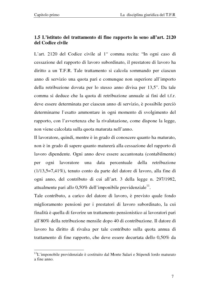 Anteprima della tesi: Il T.F.R. e la previdenza integrativa nei bilanci S.p.A., Pagina 9