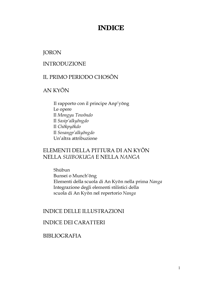 Indice della tesi: An Kyon il suo influsso sulla pittura giapponese: da Shubun a Chikuden, Pagina 1
