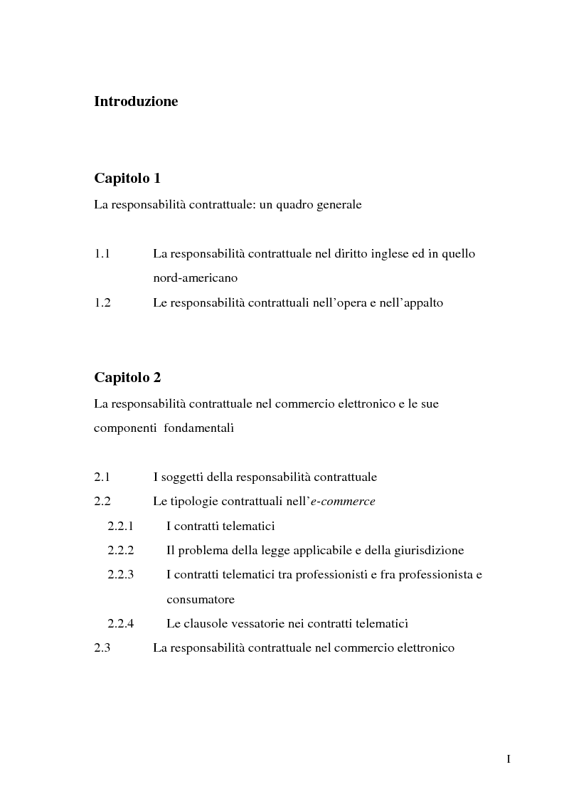 Indice della tesi: Le responsabilità contrattuali nell'e-commerce, Pagina 1