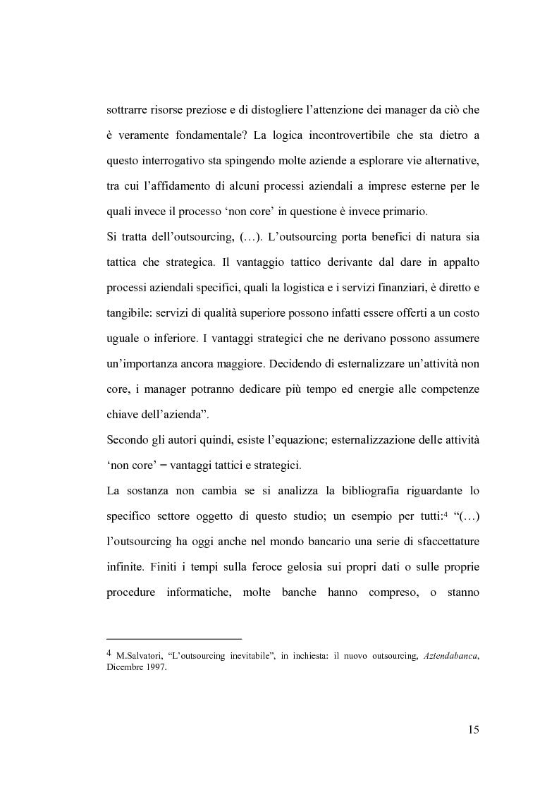 Anteprima della tesi: La banca e l'outsourcing dei sistemi informativi, Pagina 10