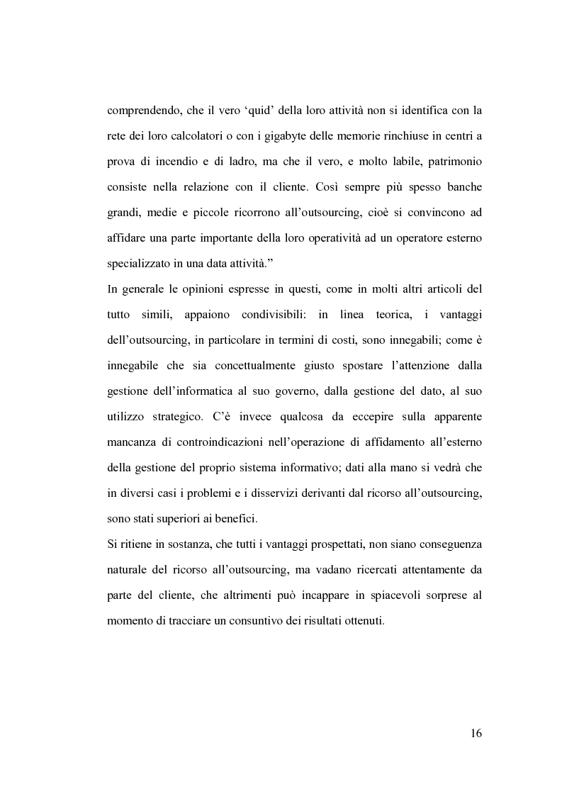 Anteprima della tesi: La banca e l'outsourcing dei sistemi informativi, Pagina 11