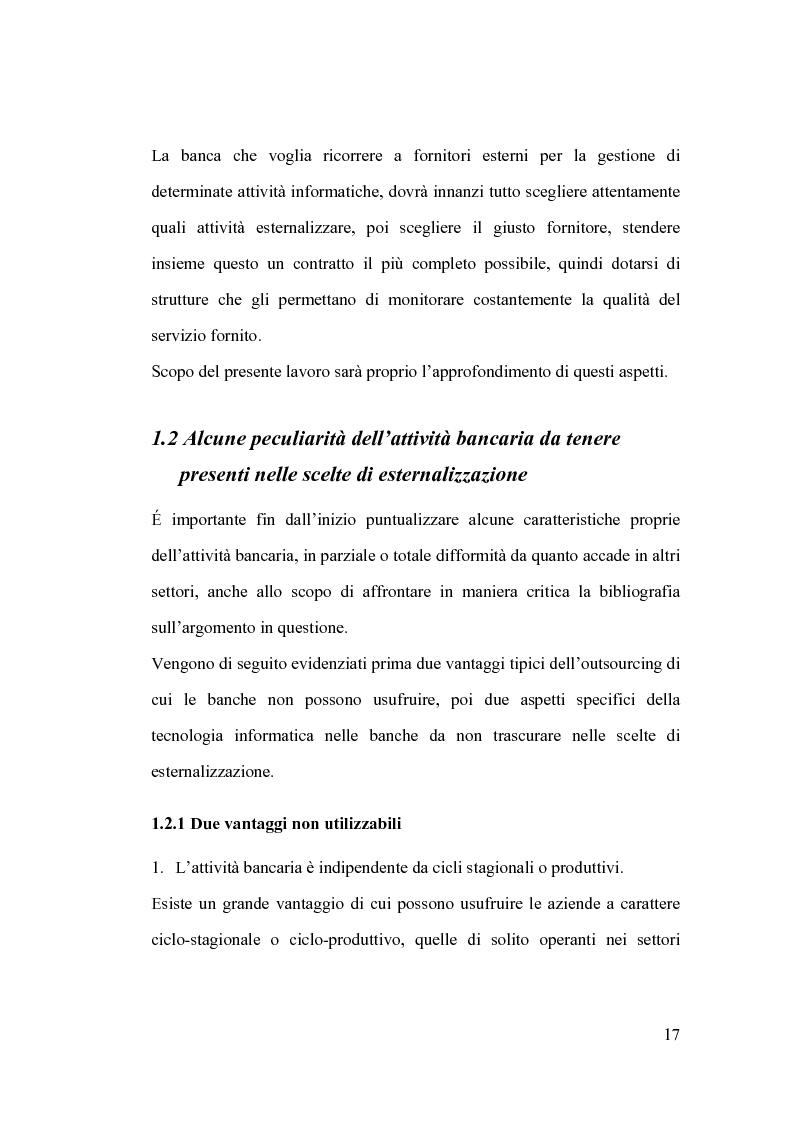 Anteprima della tesi: La banca e l'outsourcing dei sistemi informativi, Pagina 12