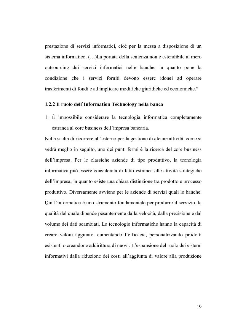 Anteprima della tesi: La banca e l'outsourcing dei sistemi informativi, Pagina 14