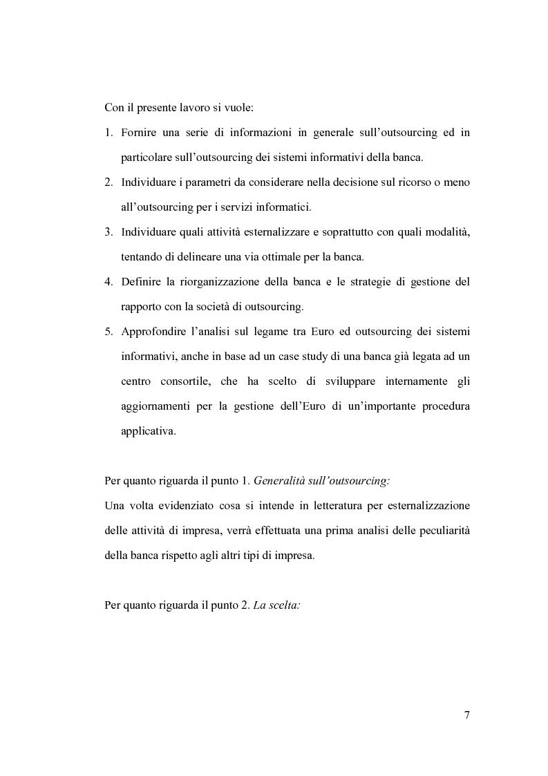 Anteprima della tesi: La banca e l'outsourcing dei sistemi informativi, Pagina 2