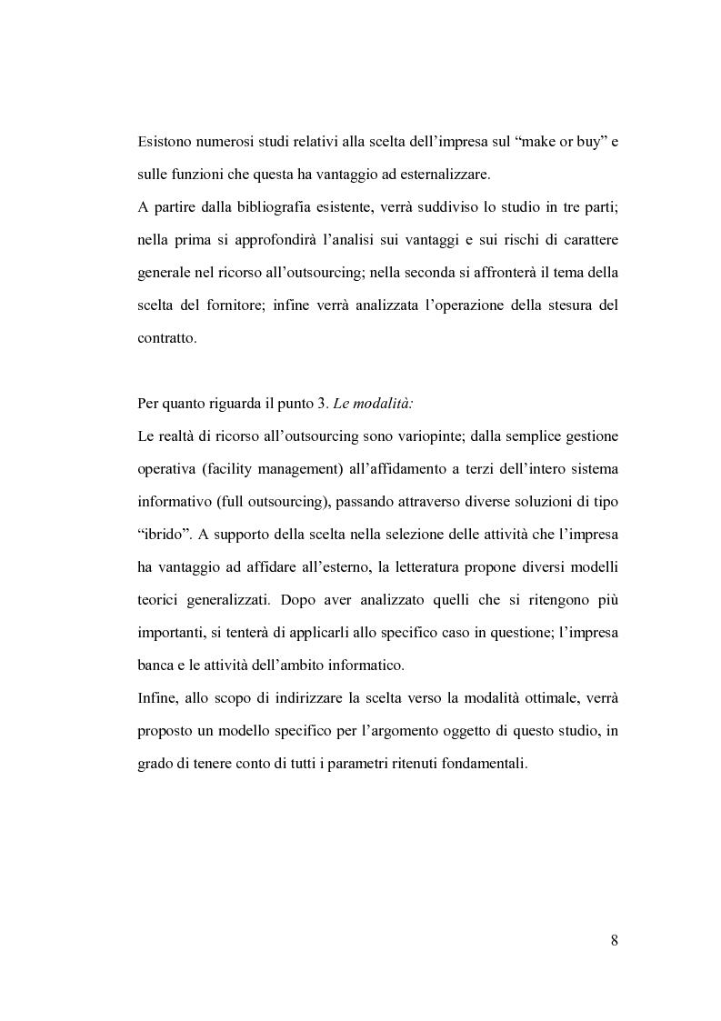 Anteprima della tesi: La banca e l'outsourcing dei sistemi informativi, Pagina 3