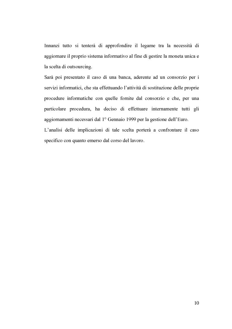Anteprima della tesi: La banca e l'outsourcing dei sistemi informativi, Pagina 5