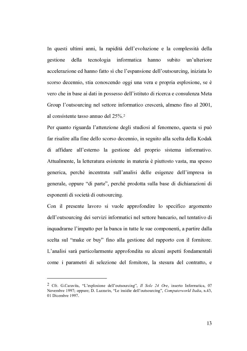Anteprima della tesi: La banca e l'outsourcing dei sistemi informativi, Pagina 8