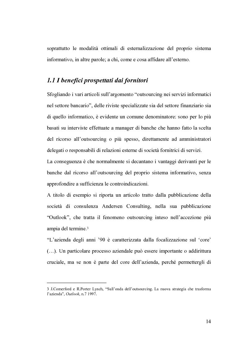 Anteprima della tesi: La banca e l'outsourcing dei sistemi informativi, Pagina 9