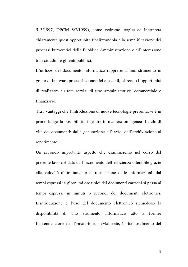 Anteprima della tesi: La firma digitale nella Pubblica Amministrazione. L'esperienza pratica dell'Ussl 9 di Treviso, Pagina 2
