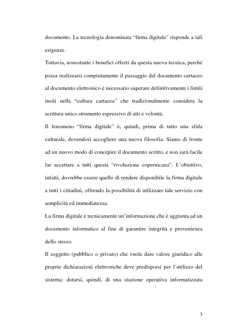 Anteprima della tesi: La firma digitale nella Pubblica Amministrazione. L'esperienza pratica dell'Ussl 9 di Treviso, Pagina 3
