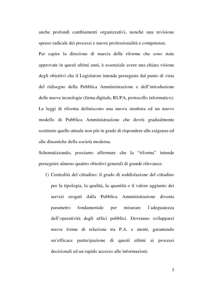Anteprima della tesi: La firma digitale nella Pubblica Amministrazione. L'esperienza pratica dell'Ussl 9 di Treviso, Pagina 5