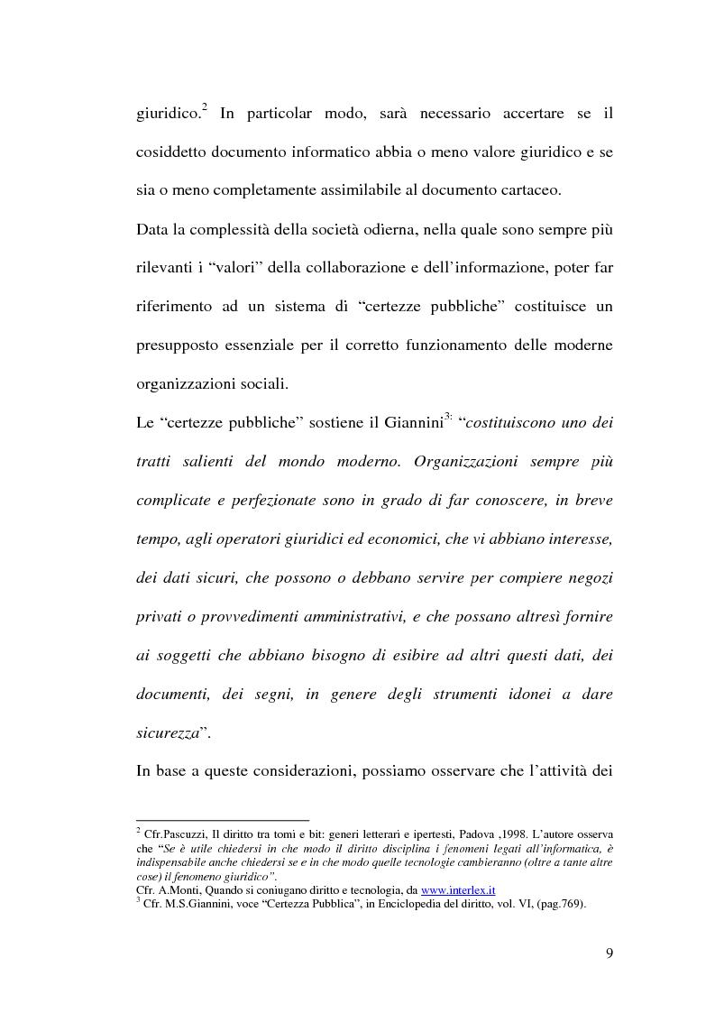 Anteprima della tesi: La firma digitale nella Pubblica Amministrazione. L'esperienza pratica dell'Ussl 9 di Treviso, Pagina 9