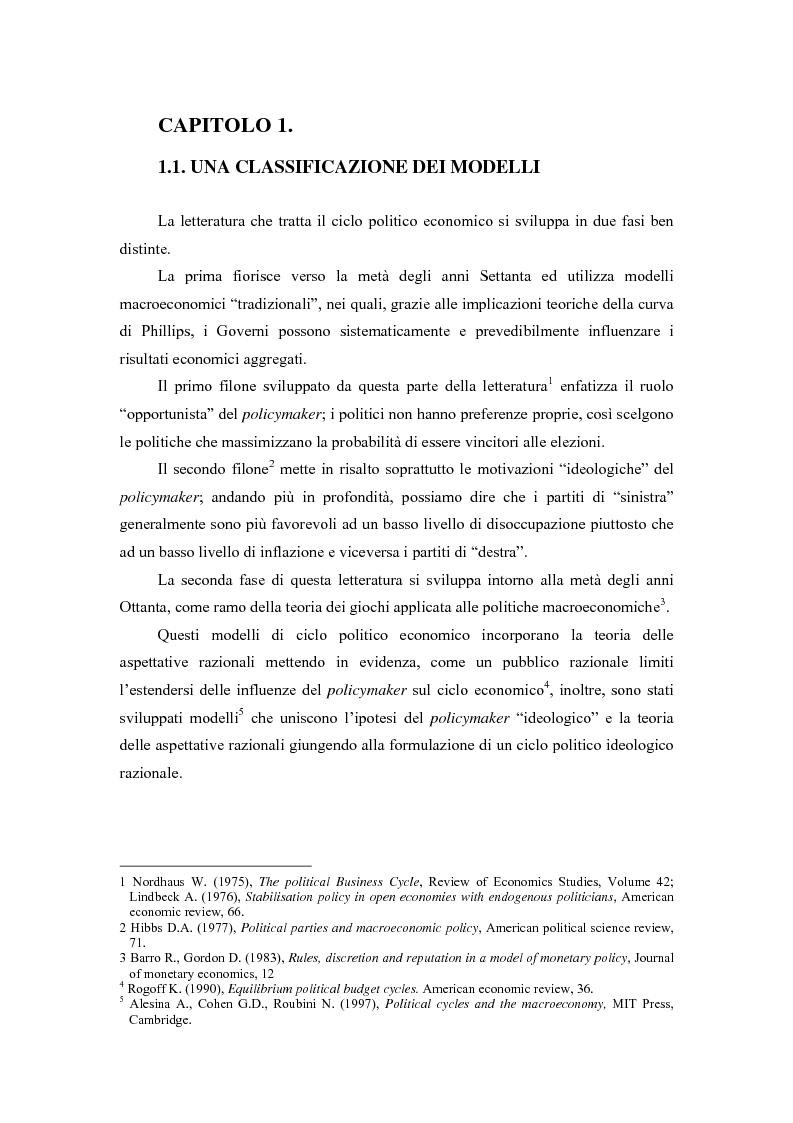 Anteprima della tesi: Sviluppi recenti della teoria del ciclo politico, Pagina 1