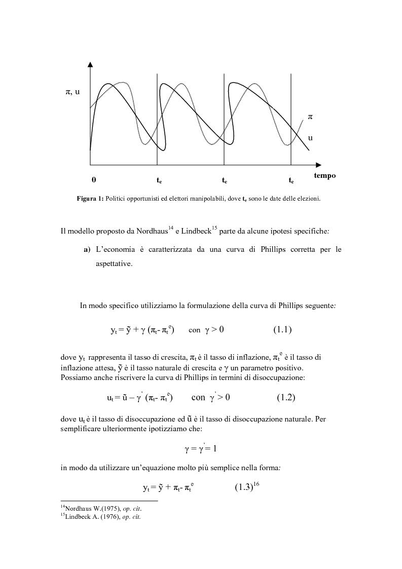 Anteprima della tesi: Sviluppi recenti della teoria del ciclo politico, Pagina 5