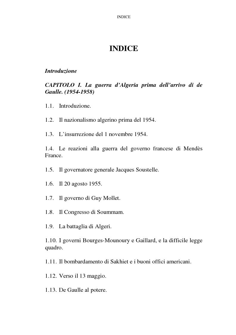 Indice della tesi: Il problema algerino e de Gaulle, Pagina 1