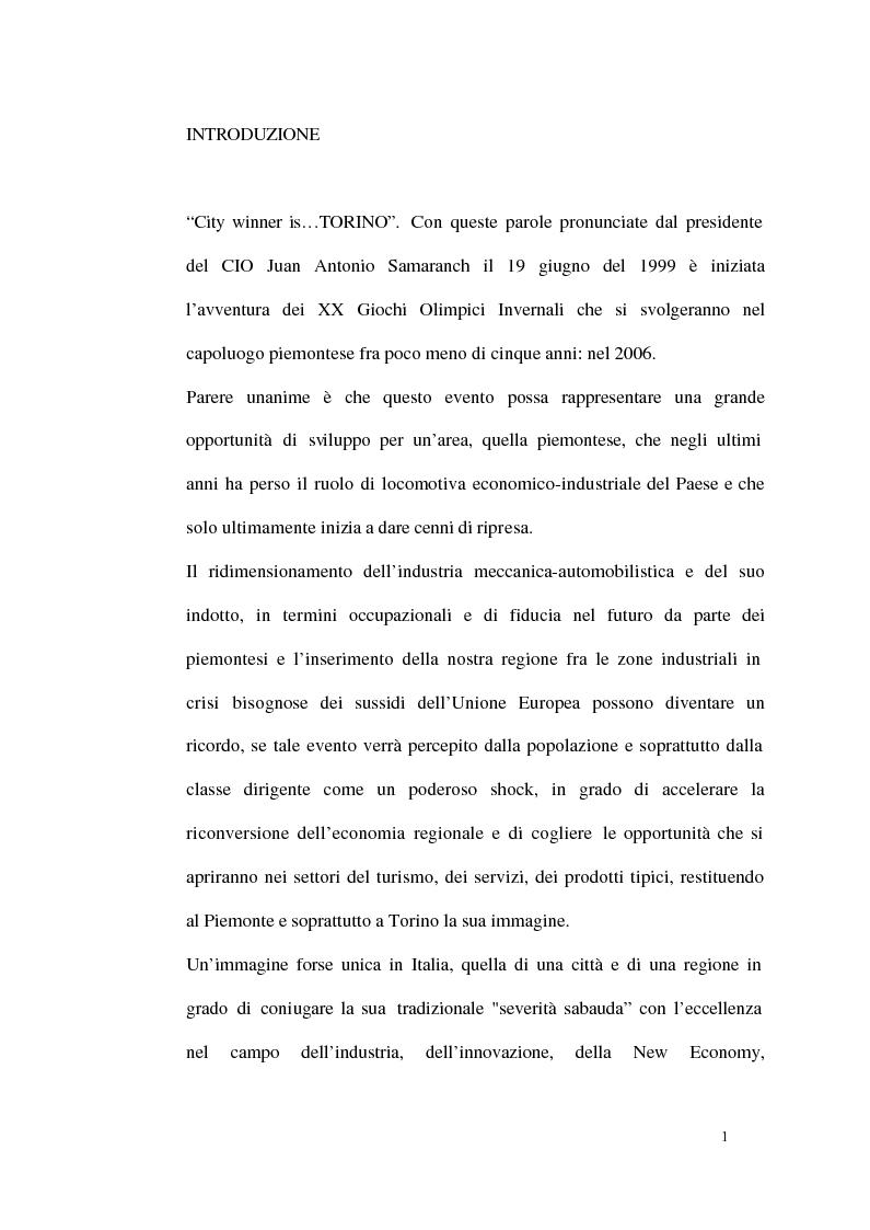 Anteprima della tesi: Un modello di sviluppo socio-economico per Torino. Una città in forte cambiamento, Pagina 1