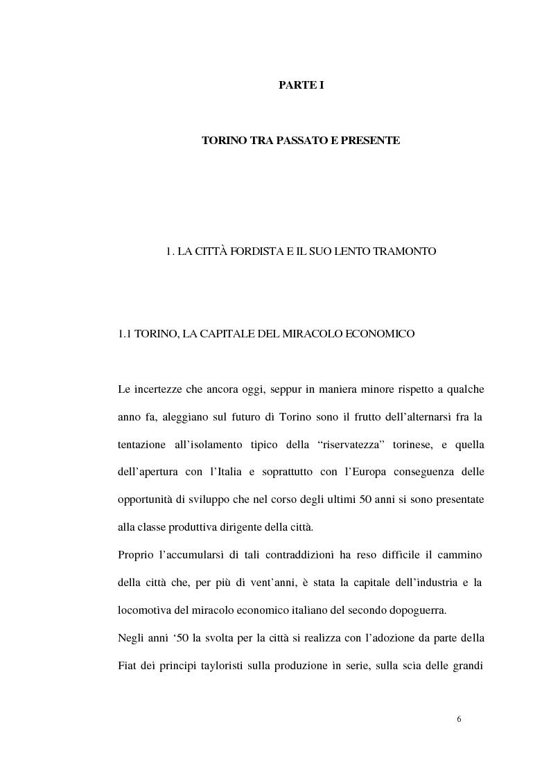 Anteprima della tesi: Un modello di sviluppo socio-economico per Torino. Una città in forte cambiamento, Pagina 6