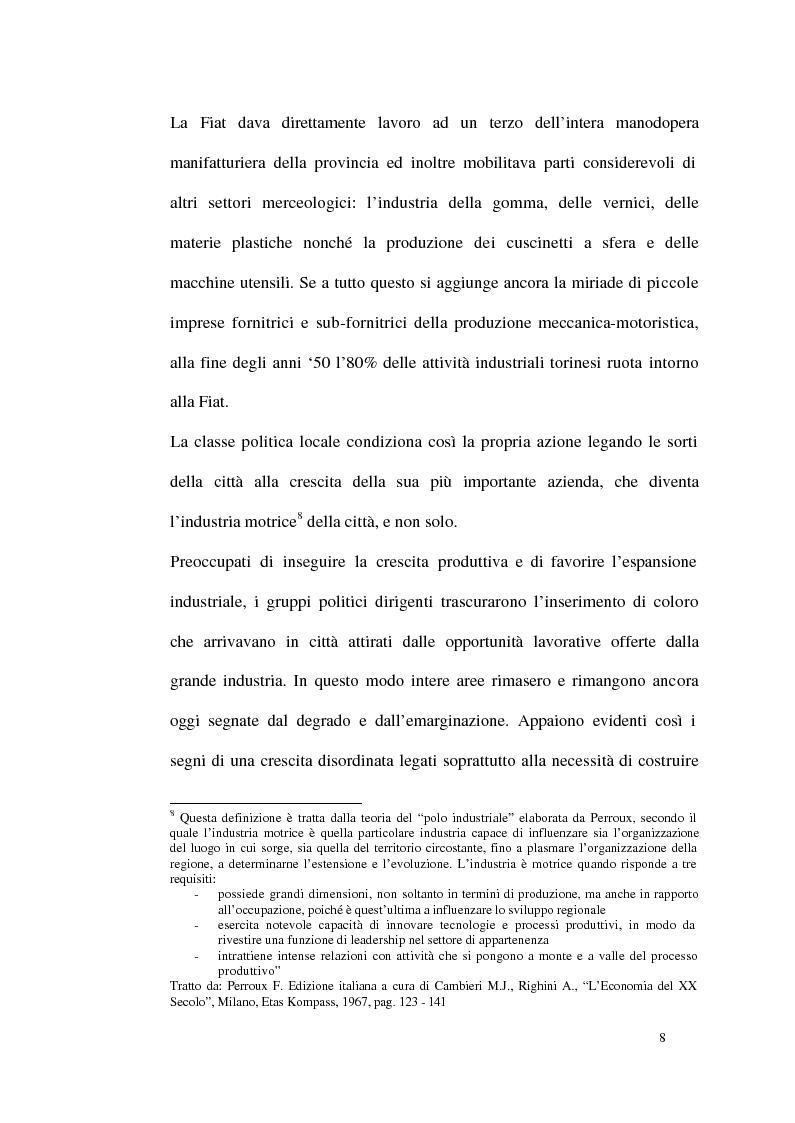 Anteprima della tesi: Un modello di sviluppo socio-economico per Torino. Una città in forte cambiamento, Pagina 8