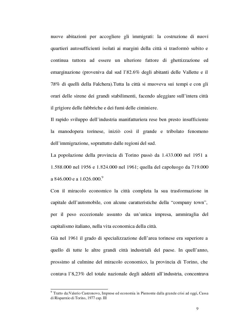 Anteprima della tesi: Un modello di sviluppo socio-economico per Torino. Una città in forte cambiamento, Pagina 9