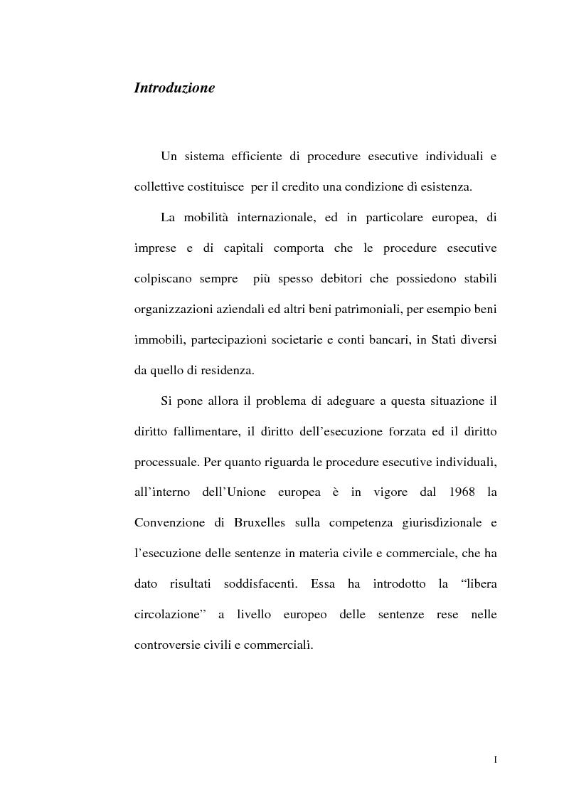Anteprima della tesi: Il fallimento transfrontaliero nel regolamento comunitario 1346/2000 del 29 maggio 2000, Pagina 1