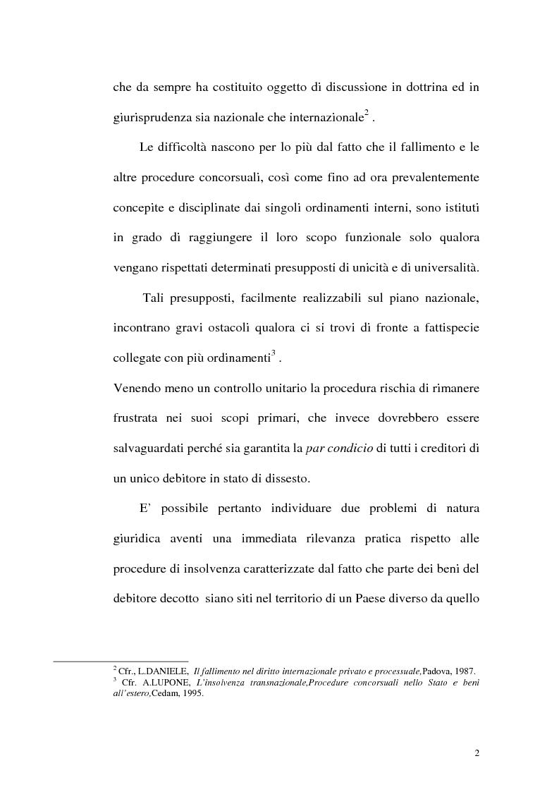 Anteprima della tesi: Il fallimento transfrontaliero nel regolamento comunitario 1346/2000 del 29 maggio 2000, Pagina 10