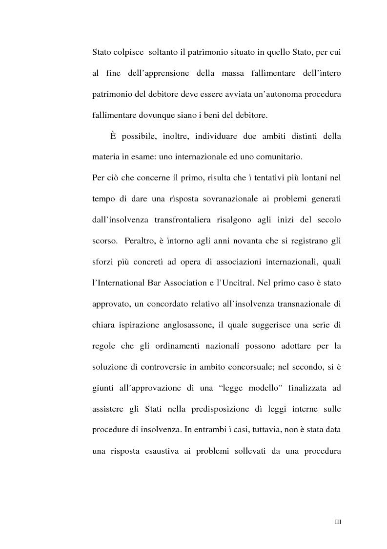 Anteprima della tesi: Il fallimento transfrontaliero nel regolamento comunitario 1346/2000 del 29 maggio 2000, Pagina 3