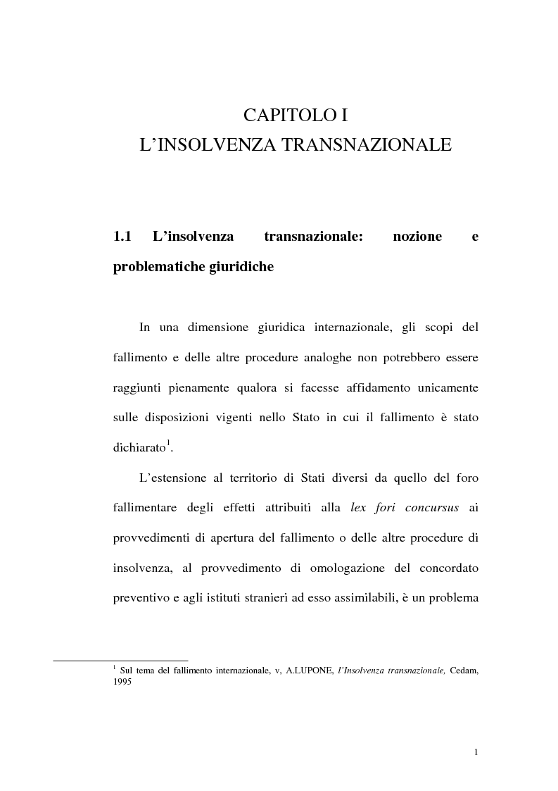Anteprima della tesi: Il fallimento transfrontaliero nel regolamento comunitario 1346/2000 del 29 maggio 2000, Pagina 9