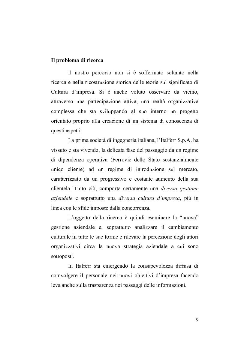 Anteprima della tesi: Il cambiamento culturale. Sviluppo, aggiornamento e consolidamento delle competenze: il caso Italferr, Pagina 6