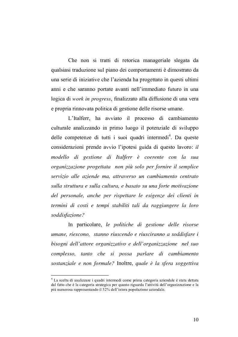 Anteprima della tesi: Il cambiamento culturale. Sviluppo, aggiornamento e consolidamento delle competenze: il caso Italferr, Pagina 7