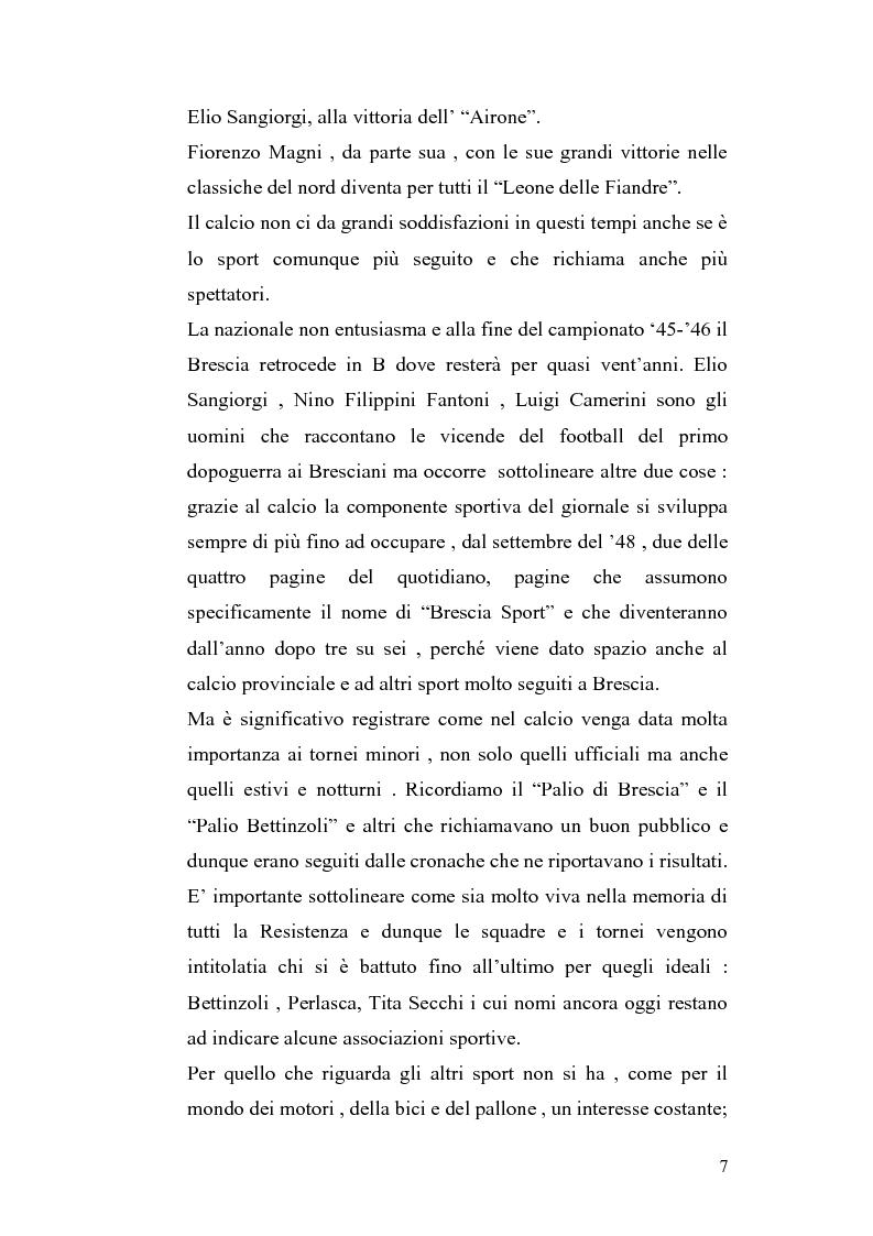 Anteprima della tesi: Le cronache sportive nella stampa bresciana del secondo dopoguerra, Pagina 7
