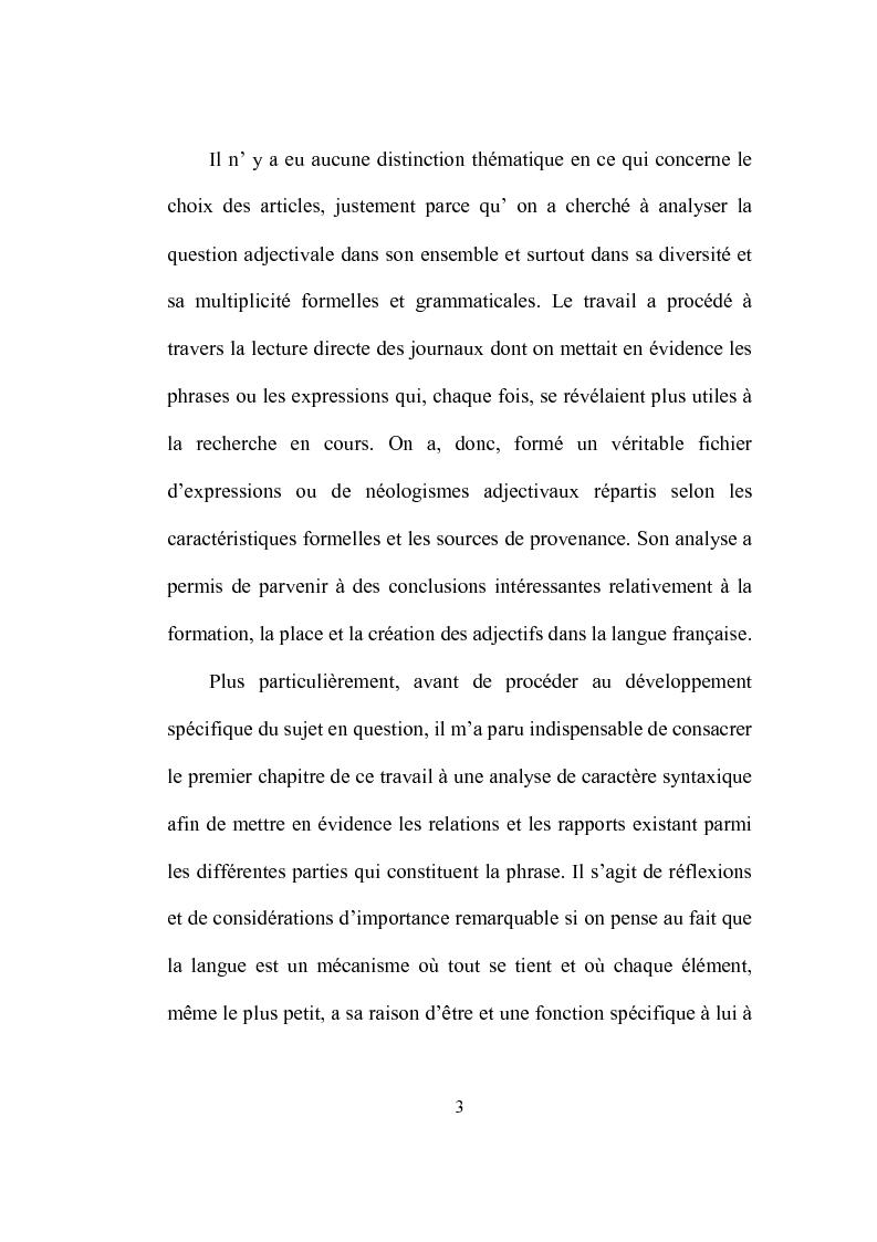 Anteprima della tesi: Formation et place de l'adjectif dans la presse française, Pagina 3