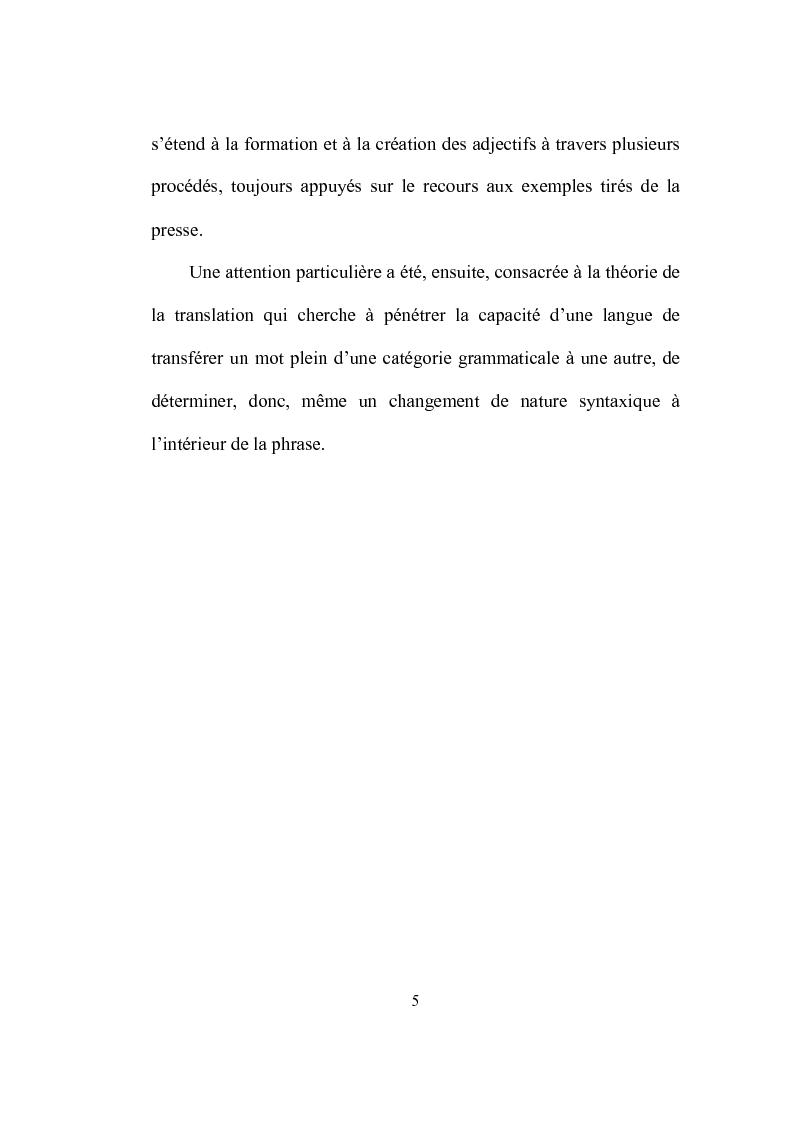 Anteprima della tesi: Formation et place de l'adjectif dans la presse française, Pagina 5