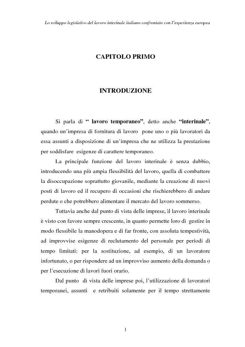 Anteprima della tesi: Lo sviluppo legislativo del lavoro interinale italiano confrontato con l'esperienza europea, Pagina 1