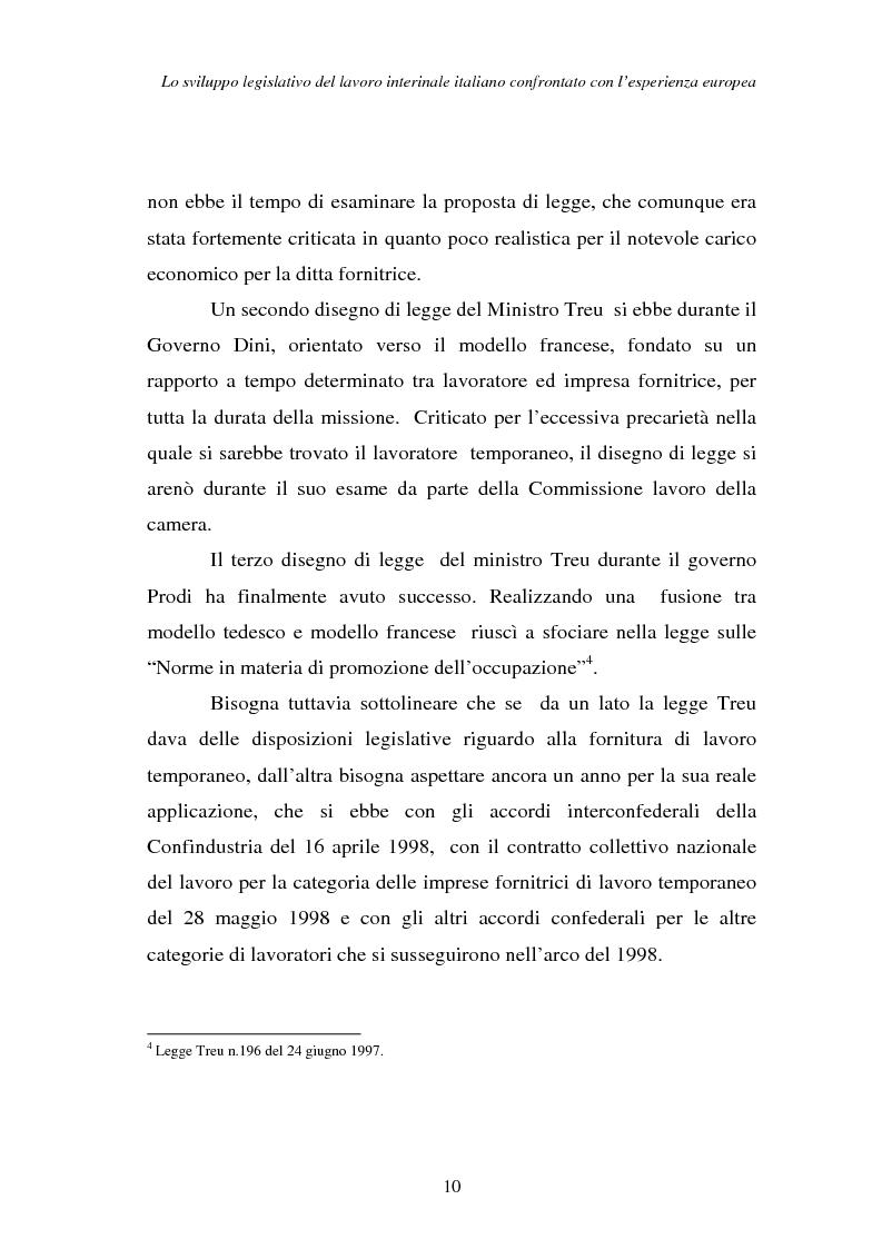 Anteprima della tesi: Lo sviluppo legislativo del lavoro interinale italiano confrontato con l'esperienza europea, Pagina 10