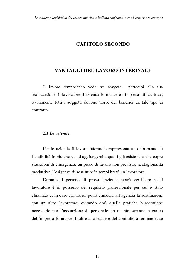 Anteprima della tesi: Lo sviluppo legislativo del lavoro interinale italiano confrontato con l'esperienza europea, Pagina 11