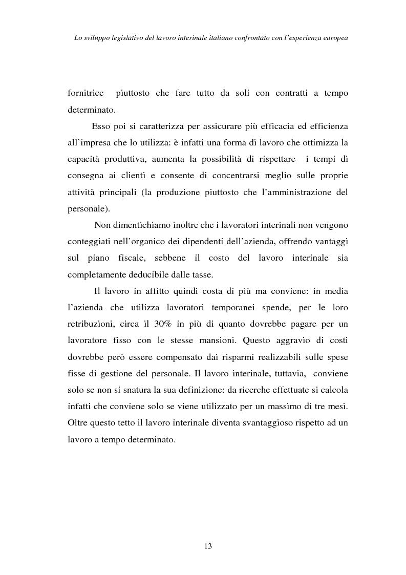 Anteprima della tesi: Lo sviluppo legislativo del lavoro interinale italiano confrontato con l'esperienza europea, Pagina 13