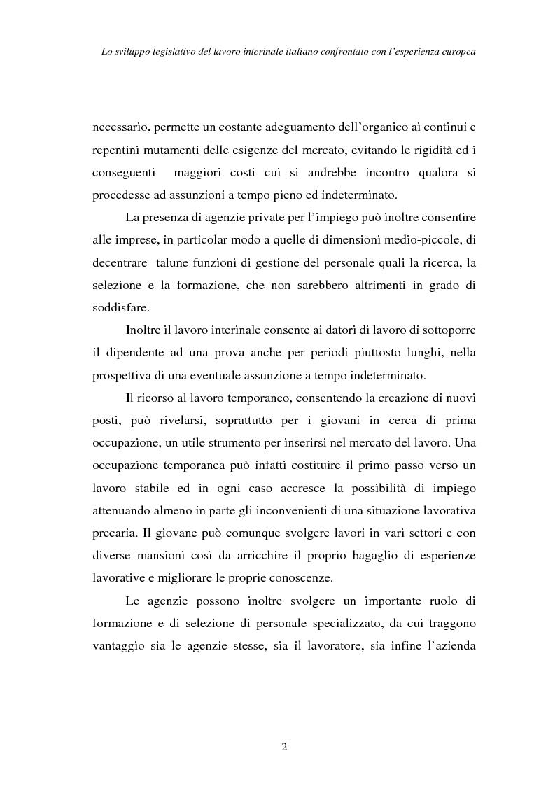 Anteprima della tesi: Lo sviluppo legislativo del lavoro interinale italiano confrontato con l'esperienza europea, Pagina 2