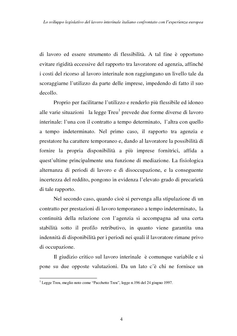 Anteprima della tesi: Lo sviluppo legislativo del lavoro interinale italiano confrontato con l'esperienza europea, Pagina 4