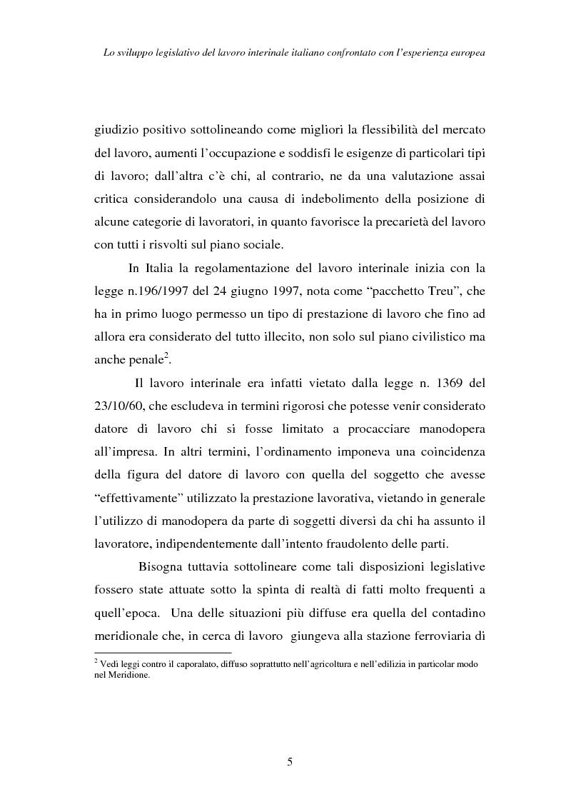 Anteprima della tesi: Lo sviluppo legislativo del lavoro interinale italiano confrontato con l'esperienza europea, Pagina 5