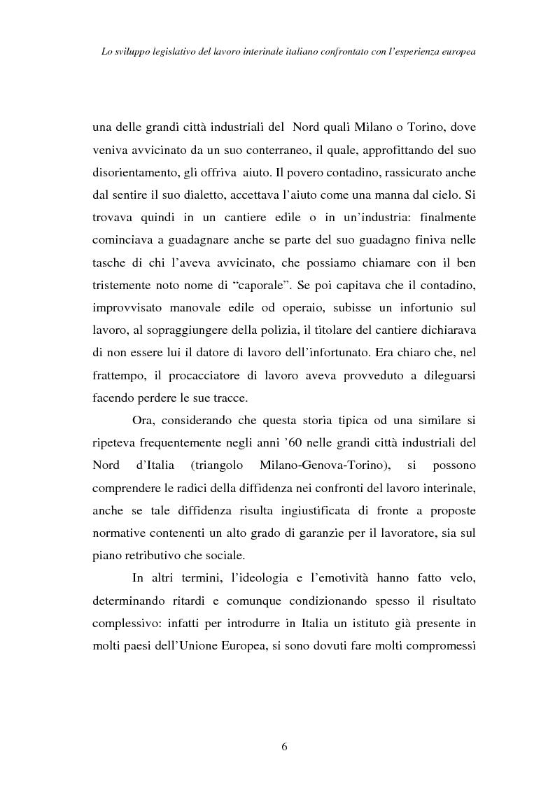 Anteprima della tesi: Lo sviluppo legislativo del lavoro interinale italiano confrontato con l'esperienza europea, Pagina 6
