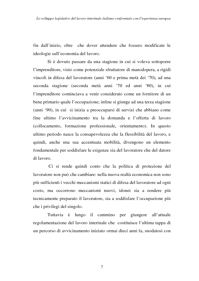 Anteprima della tesi: Lo sviluppo legislativo del lavoro interinale italiano confrontato con l'esperienza europea, Pagina 7