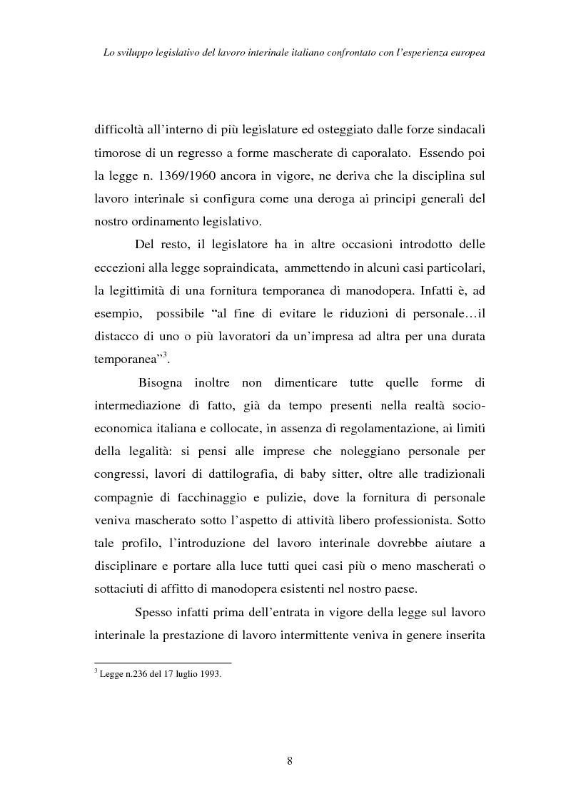Anteprima della tesi: Lo sviluppo legislativo del lavoro interinale italiano confrontato con l'esperienza europea, Pagina 8