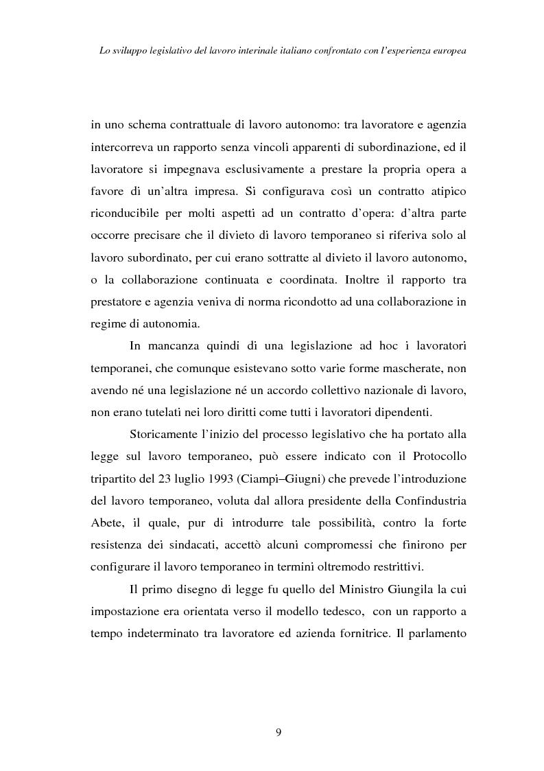 Anteprima della tesi: Lo sviluppo legislativo del lavoro interinale italiano confrontato con l'esperienza europea, Pagina 9