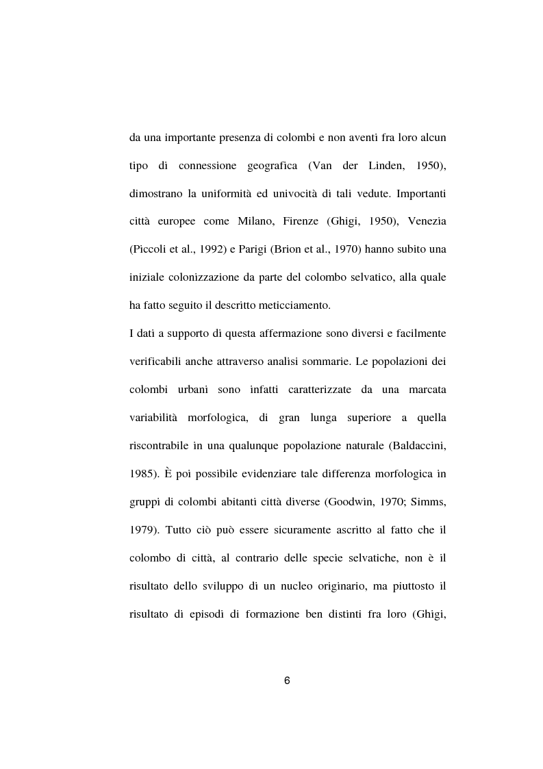Anteprima della tesi: Ricerche ed osservazioni sullo stato sanitario dei colombi della Città di Palo del Colle, Pagina 5