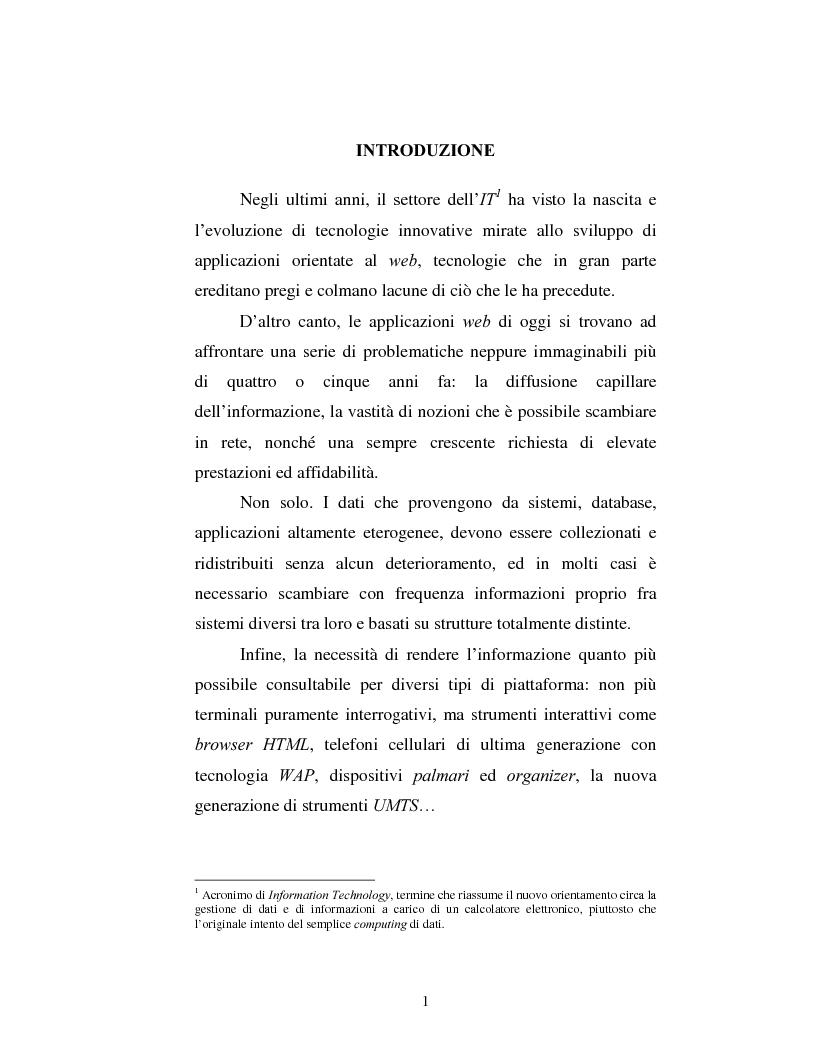 Anteprima della tesi: Un sistema di gestione integrata di documenti strutturati basato su Xml, Pagina 1