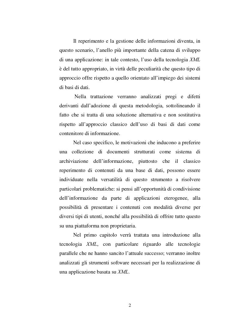 Anteprima della tesi: Un sistema di gestione integrata di documenti strutturati basato su Xml, Pagina 2